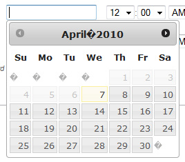 Weird characters showing up in Datepicker - jQuery Forum