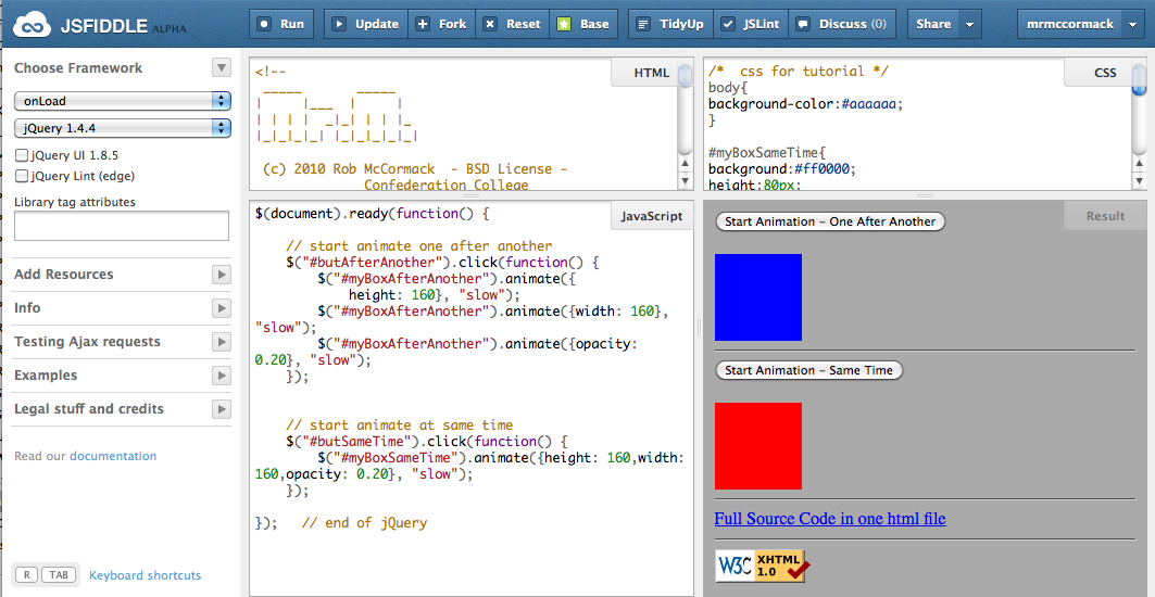 jsfiddle net jQuery Tutorials, excellent way to learn and