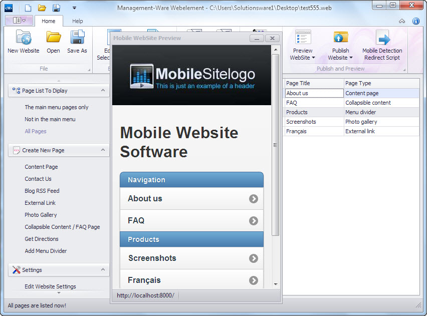 New desktop software to create mobile website based on New website create free online