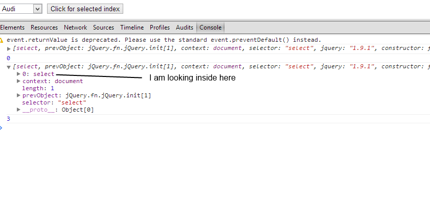 Getting index of selected option - jQuery Forum