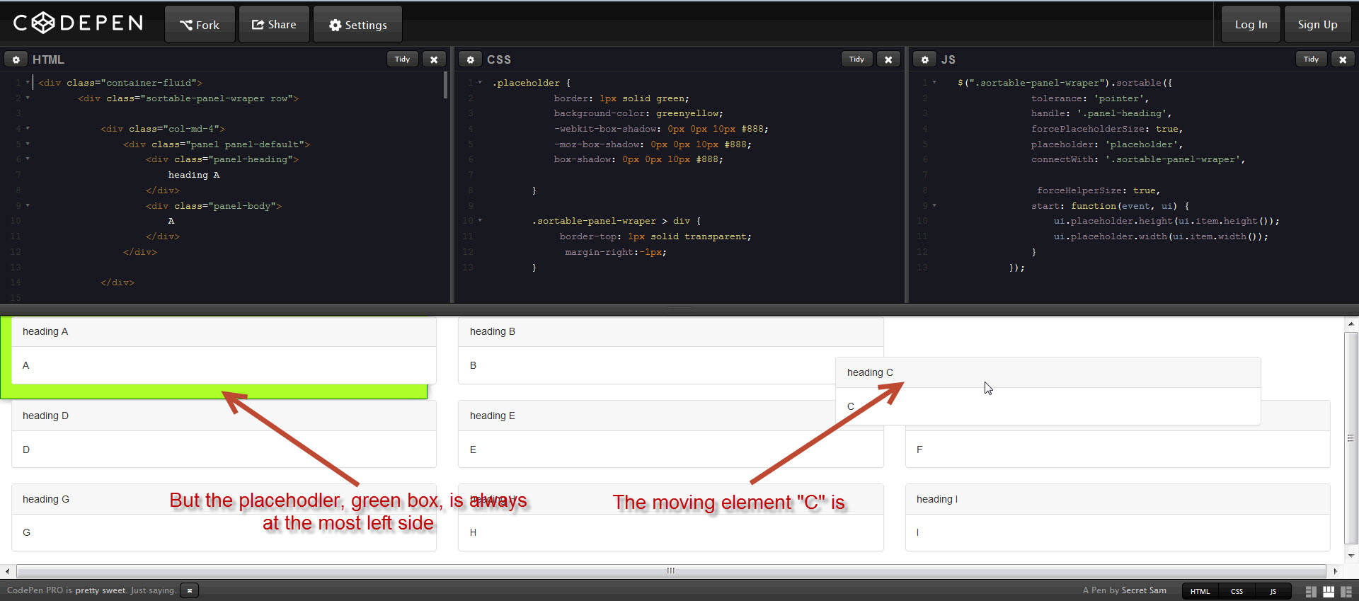 With bootstrap panels, the placeholder of jQuery UI sortable