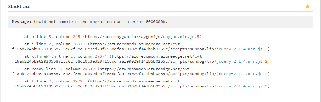 Could not complete the operation due to error 8000000b  - jQuery Forum
