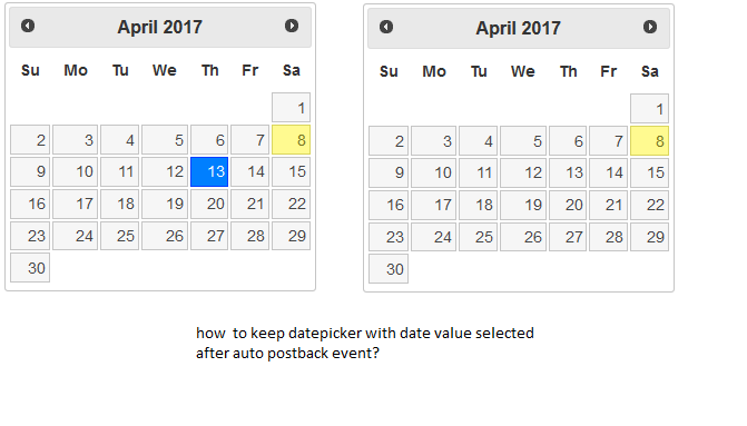 JQuery UI inline DatePicker loses selected date after ASP NET